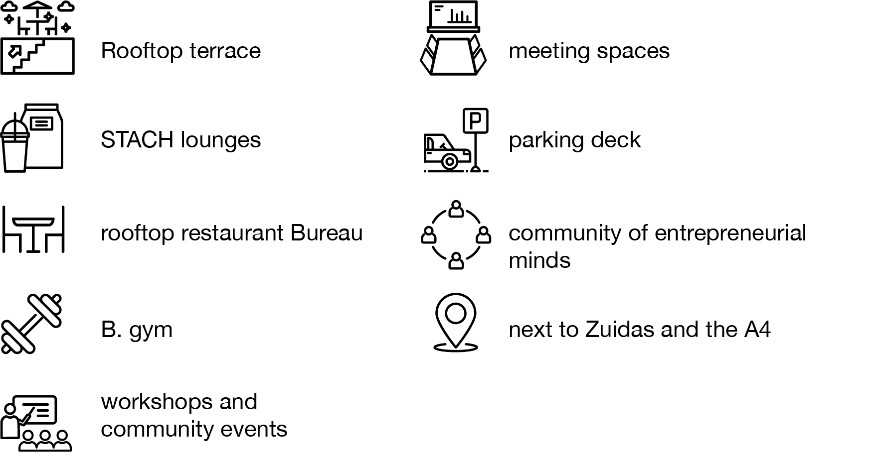 office space, parking, events